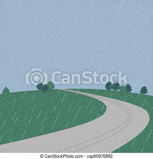 Road on the mountain during rainy season - csp60976882