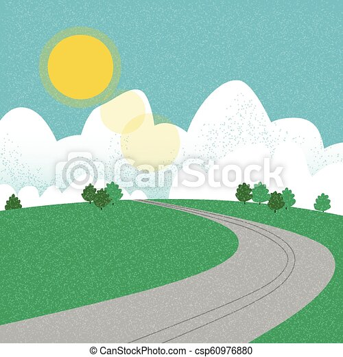 Road on the mountain during summer - csp60976880