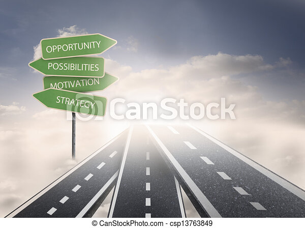 Road over clouds with business term - csp13763849