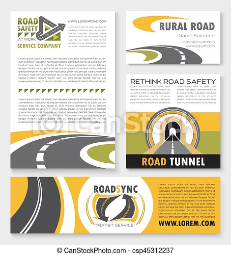road poster banner and flyer template set banner and flyer