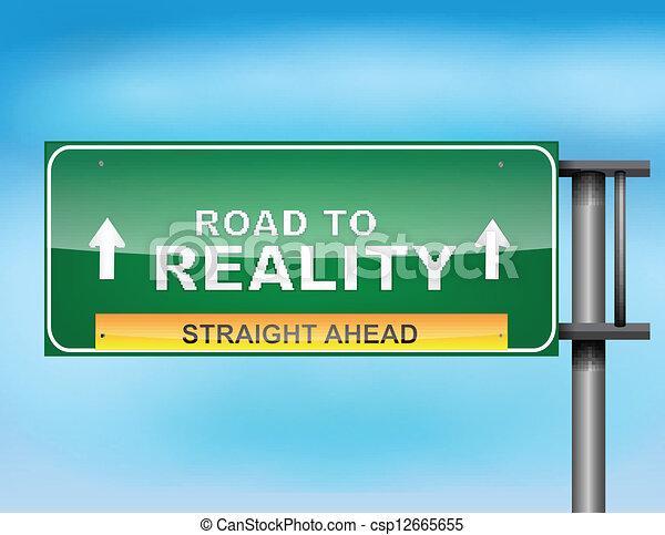 """road, reality"", texte, signe route - csp12665655"