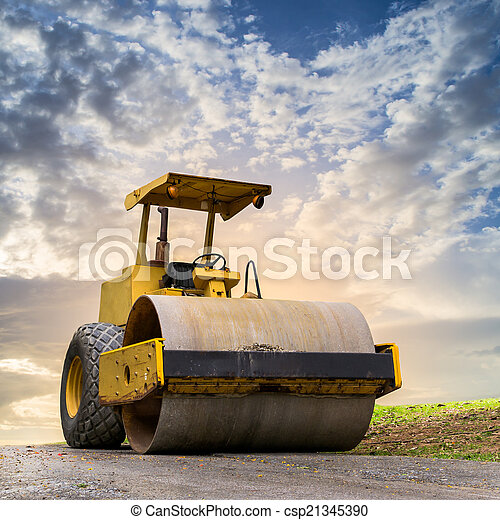 Road roller at road construction site - csp21345390