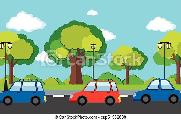 Road scene with cars on the road illustration.