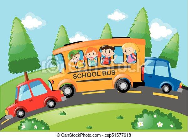 Road scene with children riding on school bus illustration.