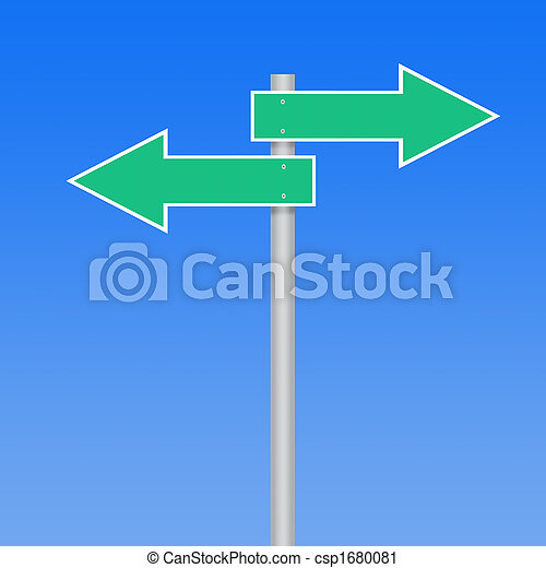 road sign arrows on blue background