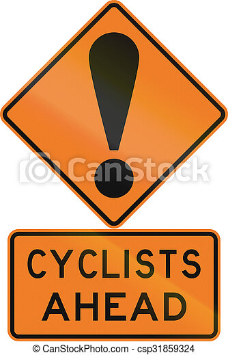 Road sign assembly in New Zealand - Cyclists ahead - csp31859324
