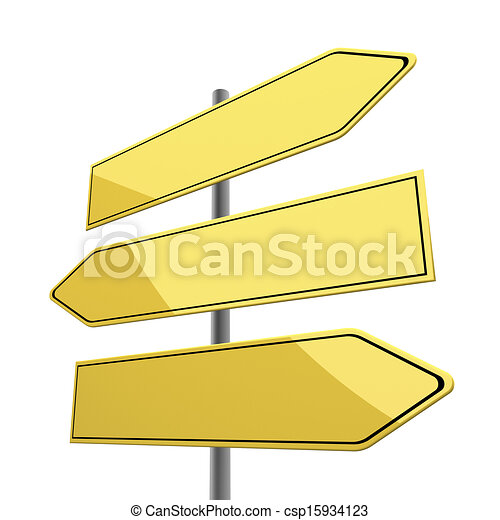 road sign blank with three yellow arrows isolated on white background