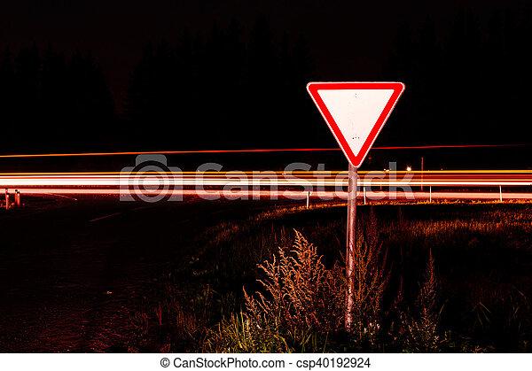 Road sign give way - csp40192924