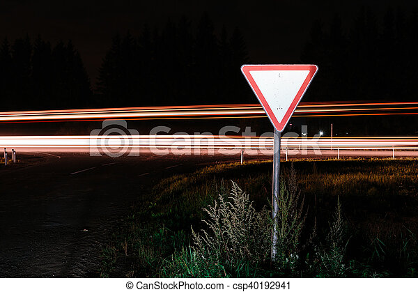 Road sign give way - csp40192941