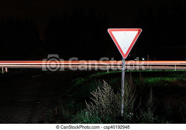 Road sign give way - csp40192948