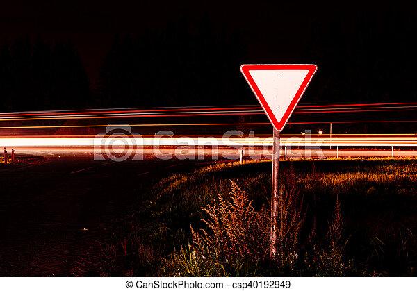 Road sign give way - csp40192949