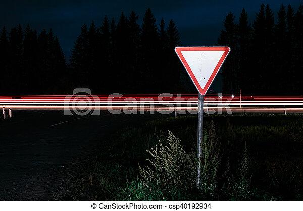 Road sign give way - csp40192934