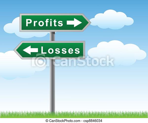 Road sign profits losses - csp8846034