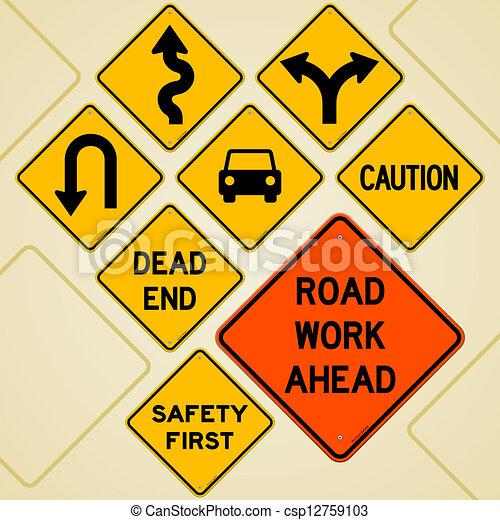 Road Sign Set Textual Yellow Signs Set As Western Roadsign Symbols