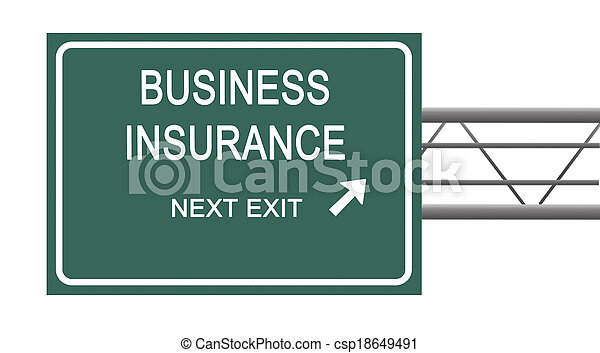 Road sign to business insurance - csp18649491