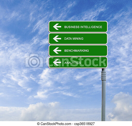 road sign to business intelligence - csp36518927