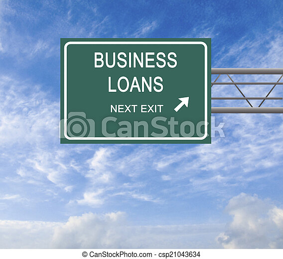 Road sign to business loan - csp21043634