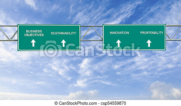 road sign to business objectives - csp54559870
