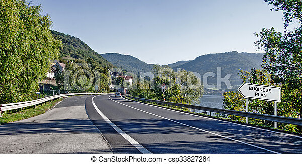 Road sign to business plan - csp33827284