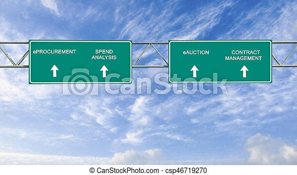 road sign to eprocurement - csp46719270