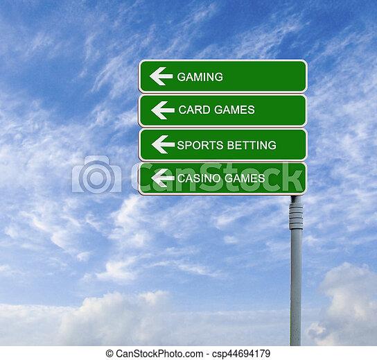 road sign to gaming - csp44694179