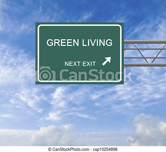 Road sign to green living - csp10254896