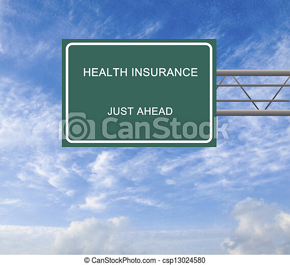 Road sign to health insurance - csp13024580