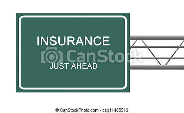 Road sign to insurance - csp11485513