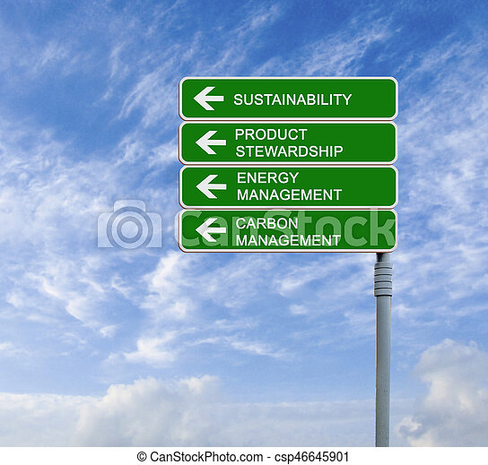 Road sign to sustainability - csp46645901