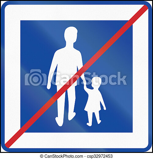 Road sign used in Sweden - End of pedestrian area - csp32972453