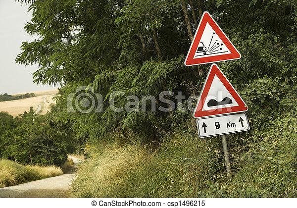 Road sign warnings, Tuscany. - csp1496215