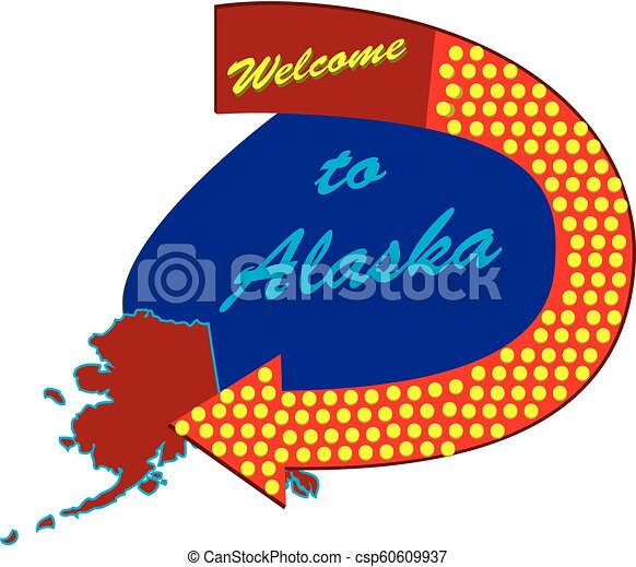 Road sign Welcome to Alaska - csp60609937