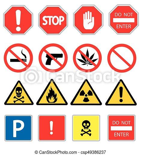 road signs and triangular warning hazard signs