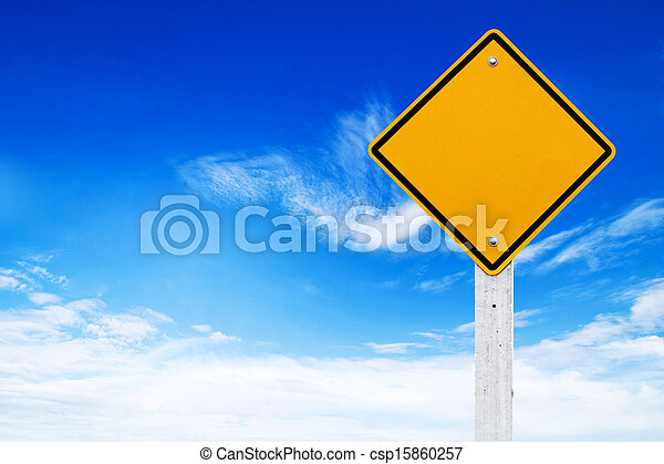 Road signs, Blank yellow warning with sky background (Clipping - csp15860257