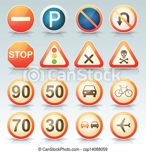 Road Signs Glossy Icons Set Illustration Of A Set Of Glossy And