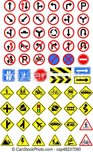 Road signs icons set. Vector illustration. - csp48237090