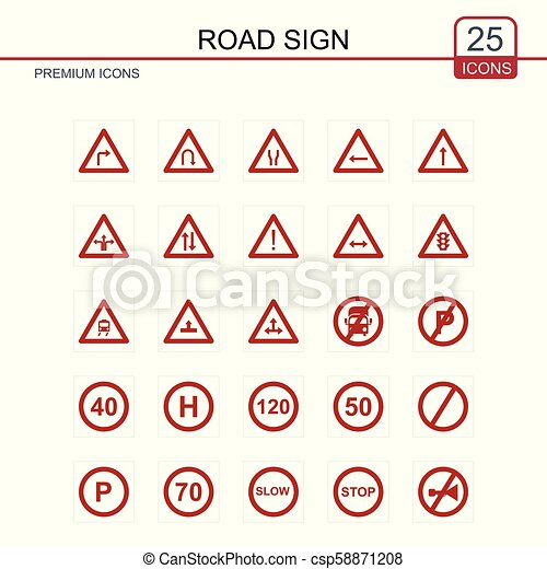 Road signs icons set vector - csp58871208