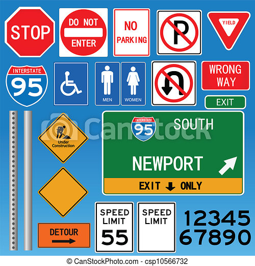 Road Signs Vector Illustration - csp10566732