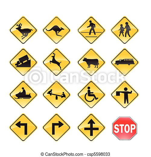 Road Signs yellow - csp5598033