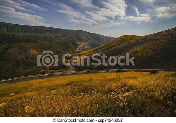 Road snaking through mountain landscape - csp74246032