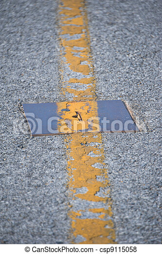 Road texture with line yellow - csp9115058