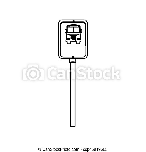 Road Traffic Bus Stop Signal Icon Vector Illustration Design