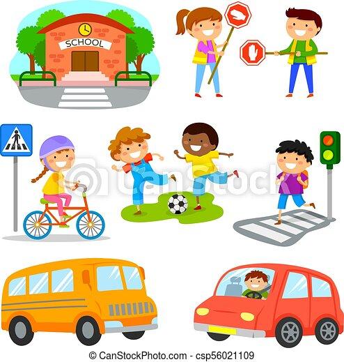 road traffic safety cartoon set set of cute cartoon kids