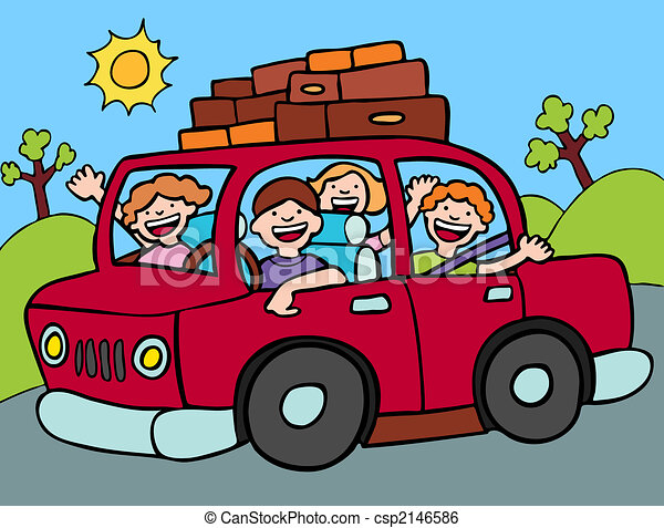 road trip family going for a long drive with luggage strapped to rh canstockphoto com road trip clipart images road trip clipart images