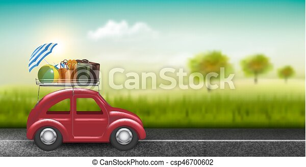Road trip concept. Red car with baggage in countryside. Vector. - csp46700602