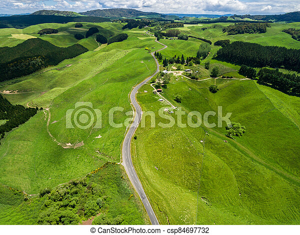 Road trip on rolling hill in Rotorua, New Zealand. - csp84697732