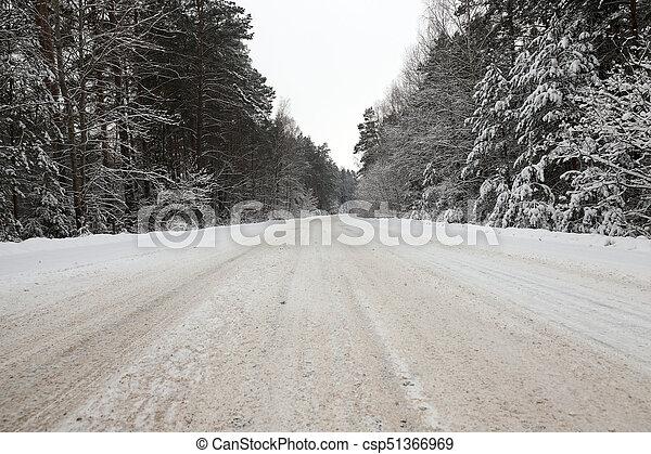 Road under the snow - csp51366969