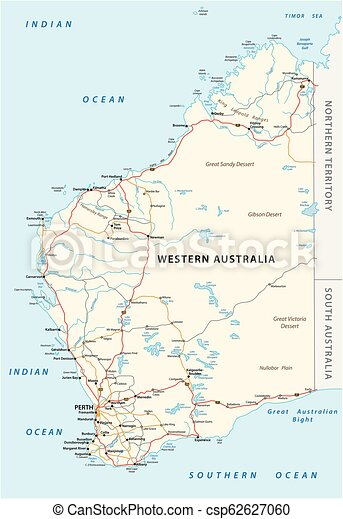 Map Of South Australia And Northern Territory.Road Vector Map Of The Western Australian State