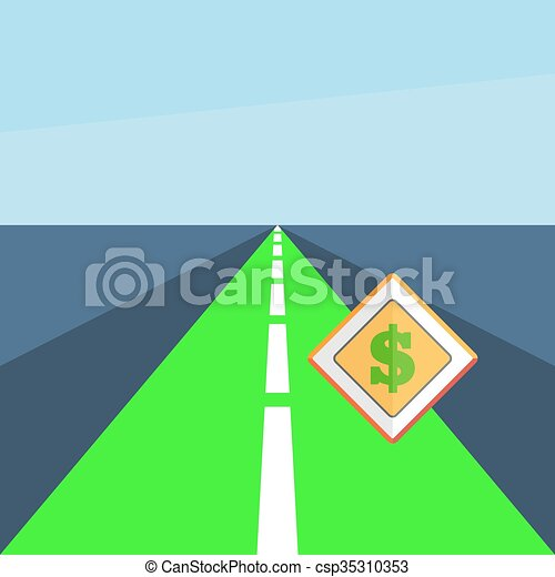 Road with a dollar sign - csp35310353