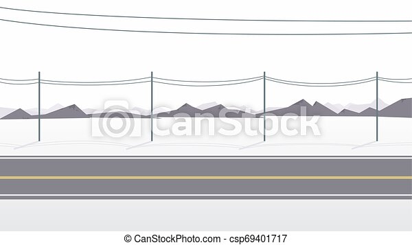 Road with electricity post in countryside landscape - csp69401717